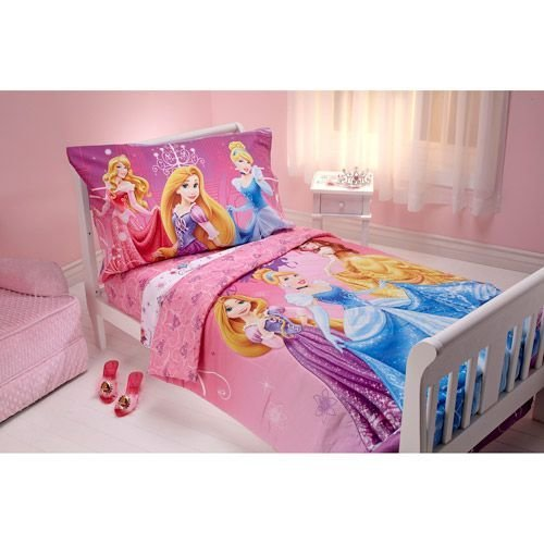 Best Disney Sparkle Like A Princess 4 Piece Toddler Bedding Set With Pictures