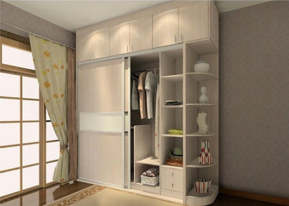 Best Sliding Two Door Wardrobe Design With Side Corners Storage With Pictures