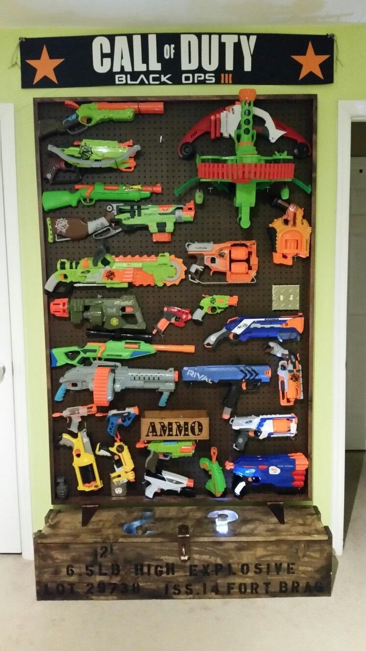Best Nerf Gun Wall With Call Of Duty Mystery Box Kids Rooms With Pictures