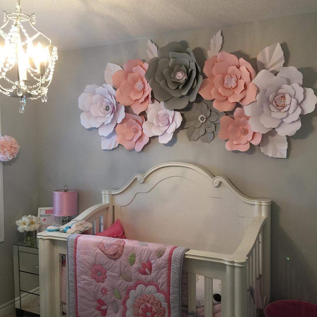 Best Paper Flower Wall In Girls Bedroom Grey Pink And White With Pictures