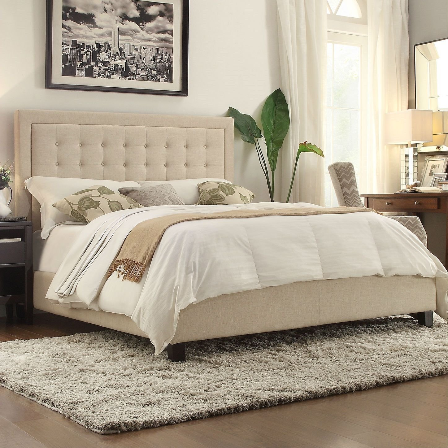 Best King Size Beige Upholstered Bed With Button Tufted With Pictures