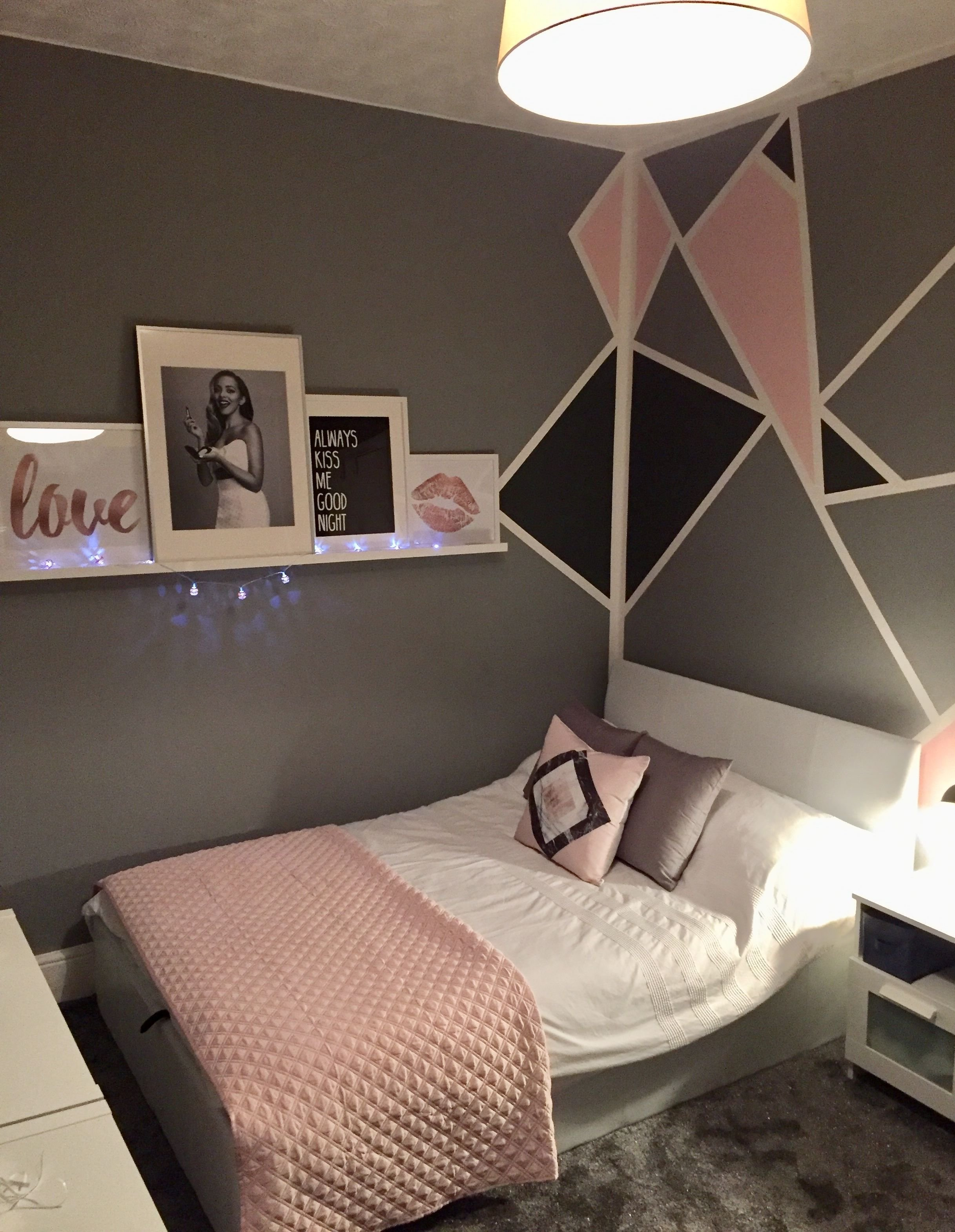 Best Grey And Pink T**N Girls Bedroom Geometric Walls With With Pictures