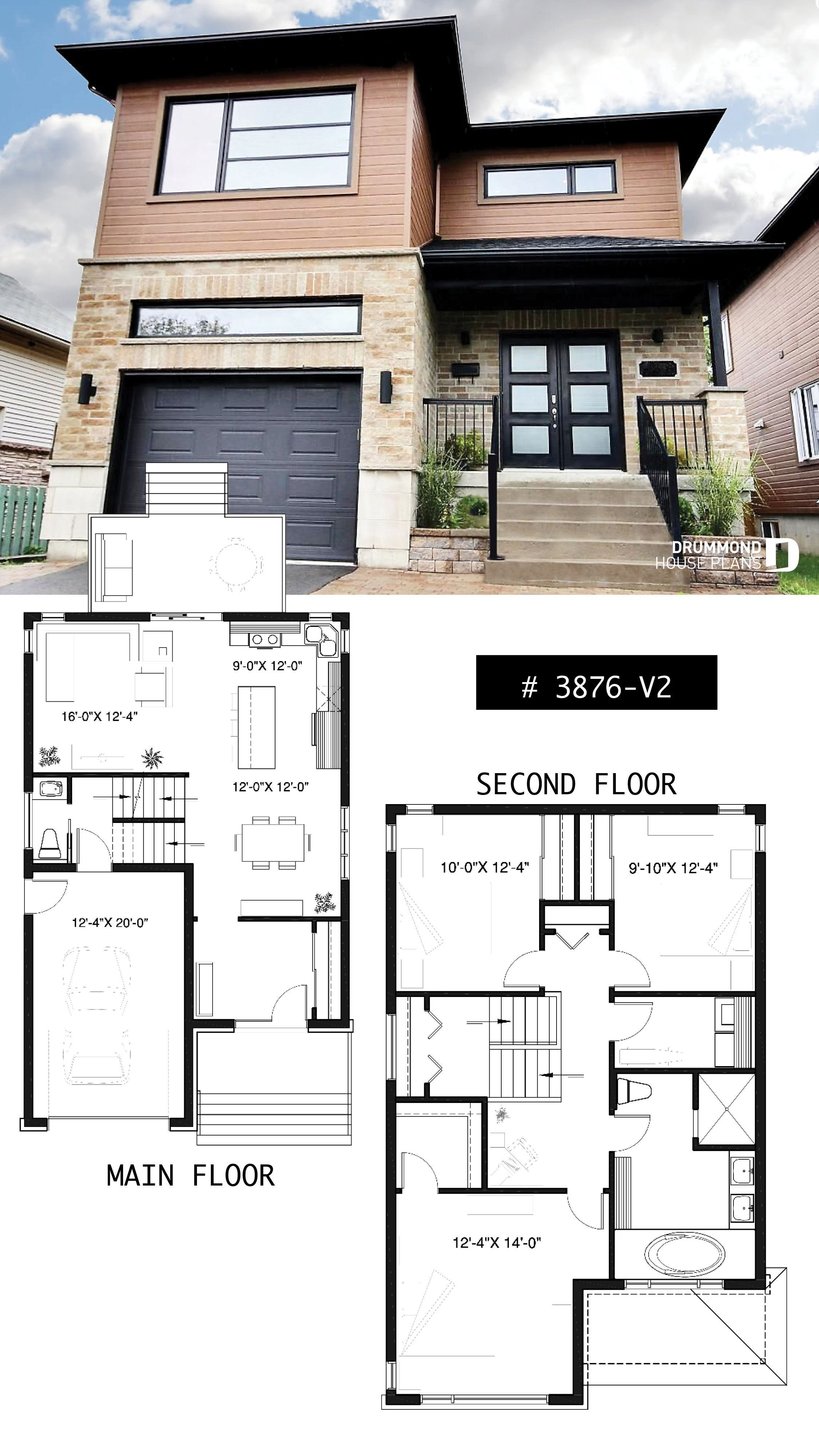 Best Modern House Plan 2 Storey Home Plan For Narrow Lot With With Pictures