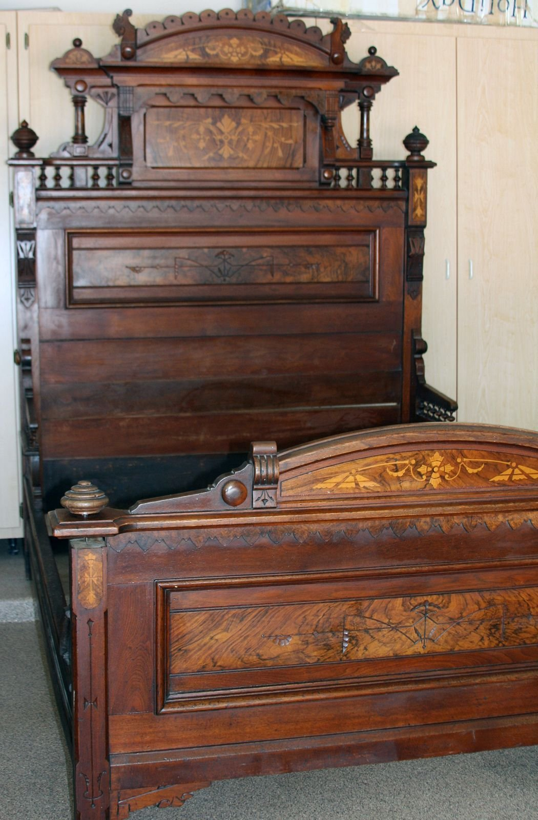 Best Details About Antique Bed Eastlake Style Walnut W Burl With Pictures
