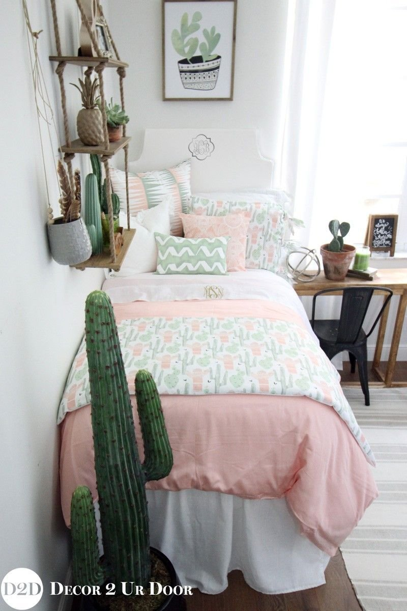 Best Peach Green Cactus Designer T**N Girls Bedding T**N With Pictures