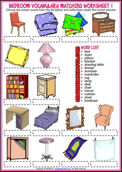 Best Bedroom Vocabulary Matching Exercise Worksheets For Kids With Pictures