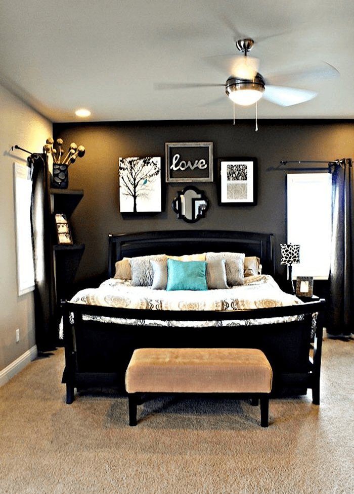 Best Master Bedroom With Dark Grey Accent Wall Light Grey With Pictures