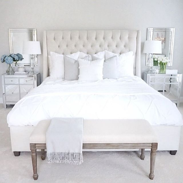 Best Neutral Bedroom White Bedroom Tufted Bed Mirrored Nightstand Arhaus Furniture Master Bedroom With Pictures