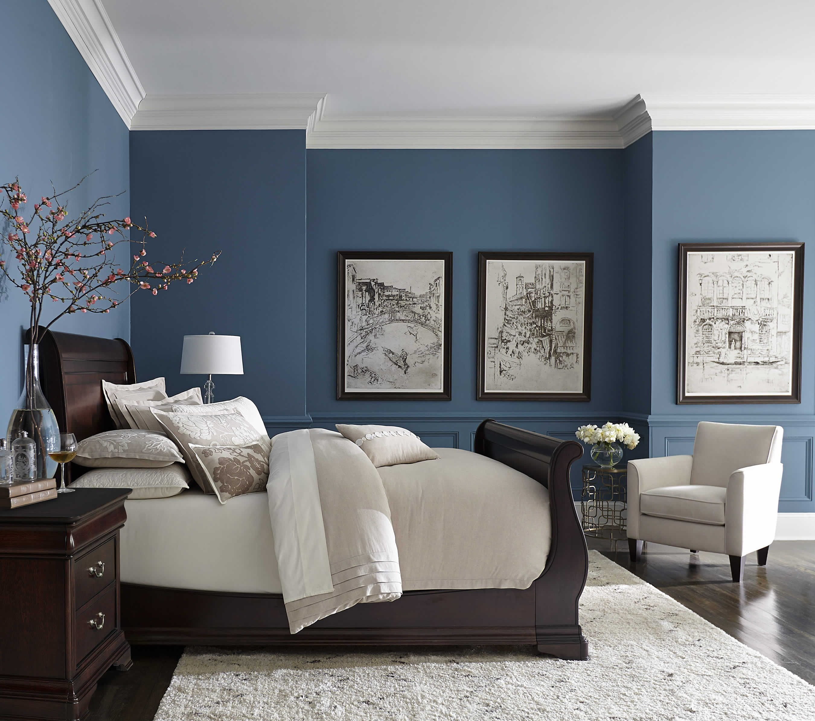 Best Pretty Blue Color With White Crown Molding Bedrooms In With Pictures