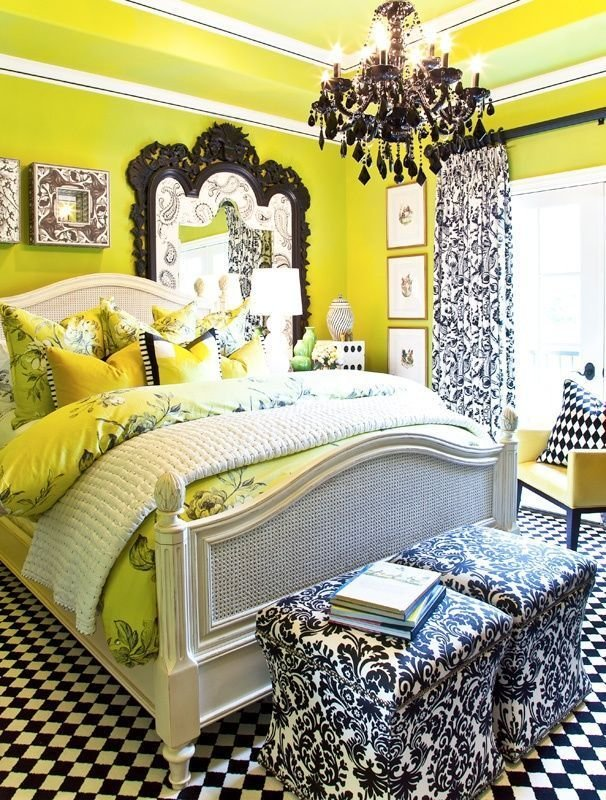 Best Black And White Accents Lime Green Walls Damask Black With Pictures