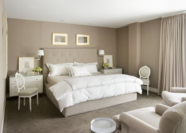 Best Vt Interiors Bedroom Beige Brown Carpet Curtains Gray Taupe White White Furniture With Pictures