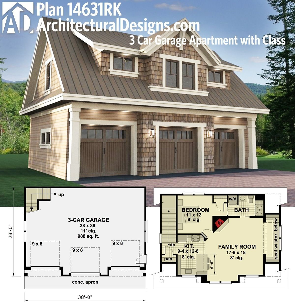Best Plan 14631Rk 3 Car Garage Apartment With Class In 2019 With Pictures