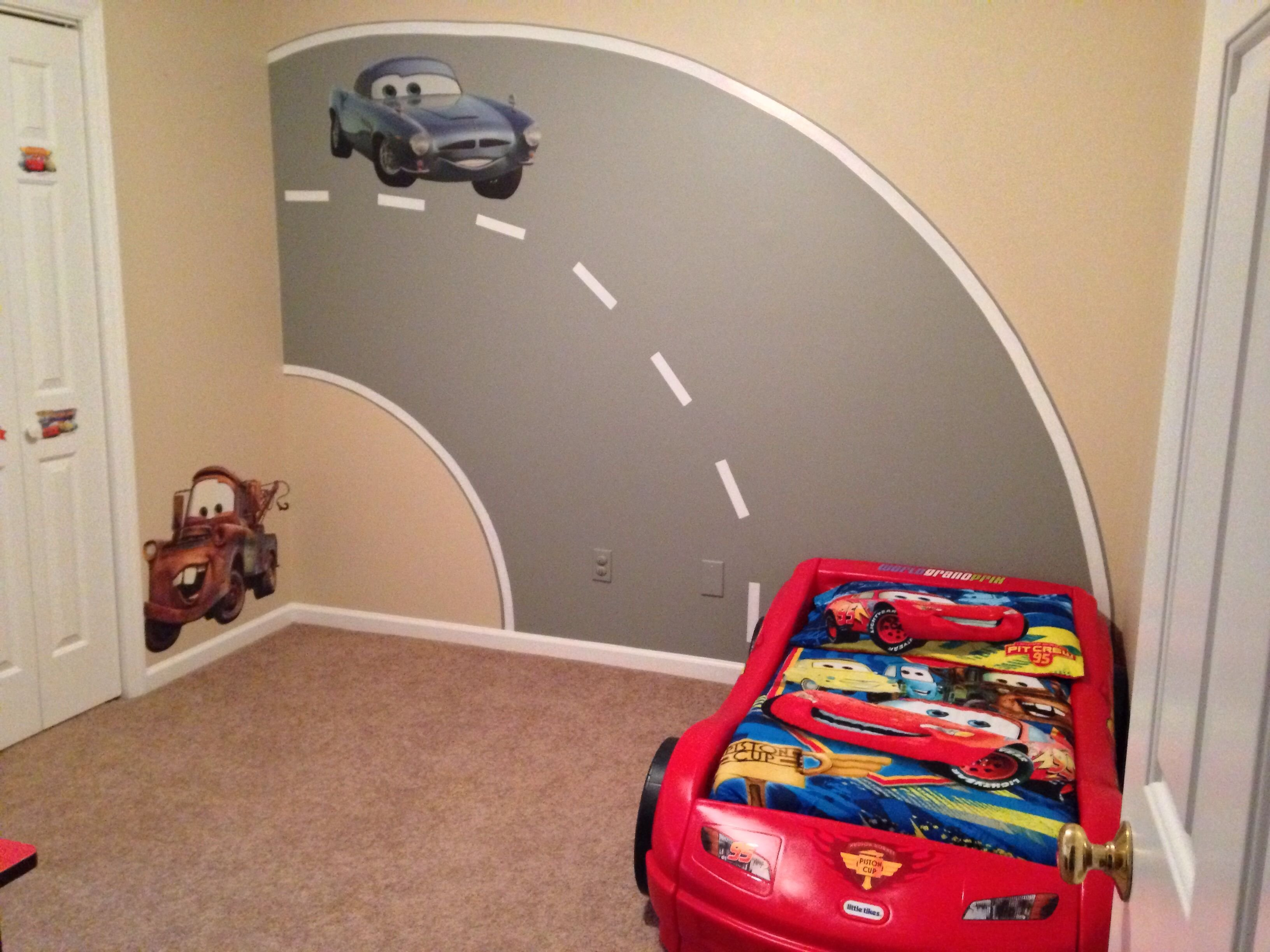 Best My Sons Disney Cars Bedroom With Road Mural I Painted With Pictures