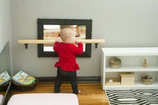 Best Diy Pull Up Bar Made From An Finished Railing From Home Depot Cut To Size Montessori With Pictures