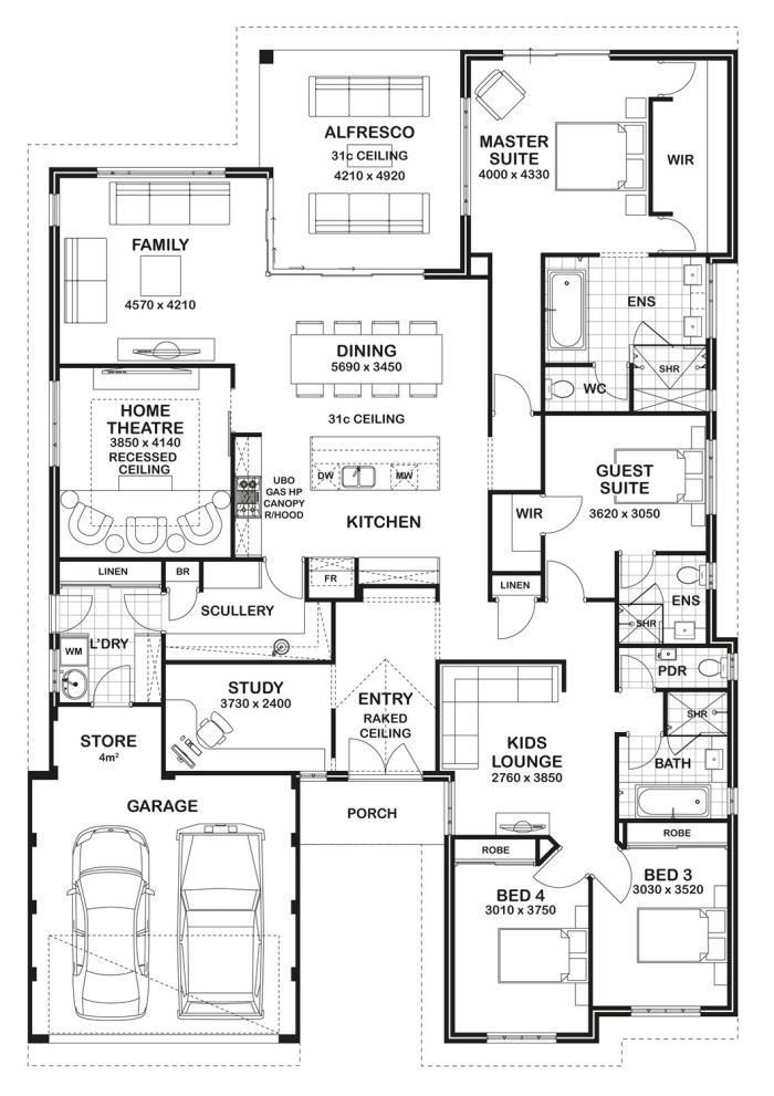 Best Floor Plan Friday 4 Bedroom 3 Bathroom Home House With Pictures