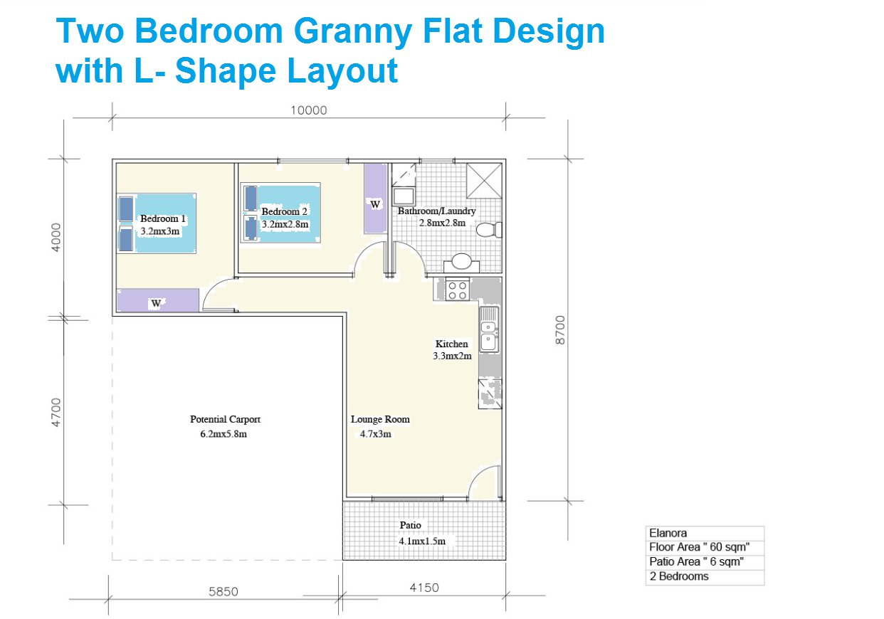 Best L Shaped Two Bedroom Granny Flat Design Rural Dwellings With Pictures