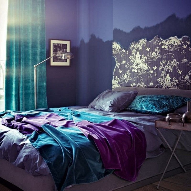 Best Seaside Interiors Purple Gray And Turquoise Bedroom With Pictures