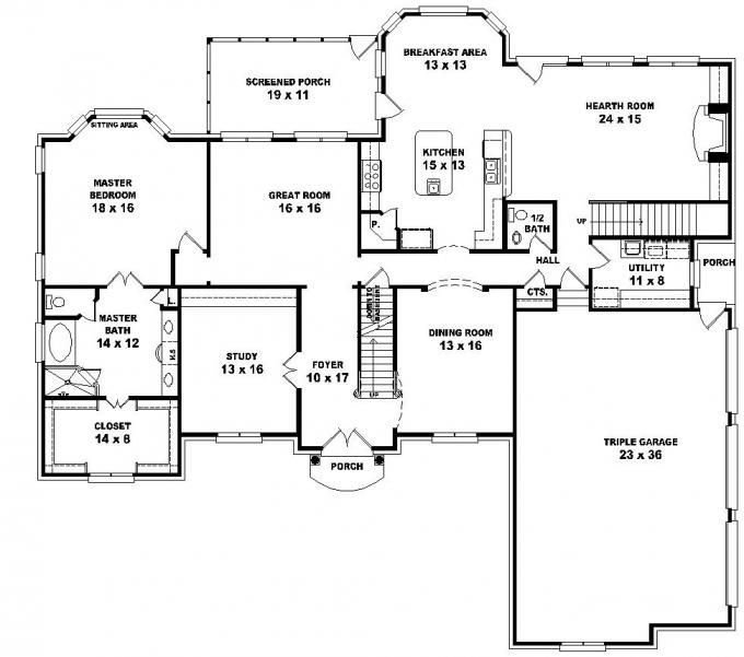 Best 653616 2 Story French Style Floor Plan With 5 Bedrooms House Plans Floor Plans Home Plans With Pictures