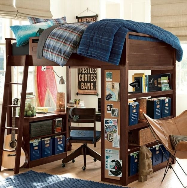 Best Pb T**N Loft Bed With Desk Boys Will Be Boys Loft Beds For Teens Boys Bedroom Furniture With Pictures