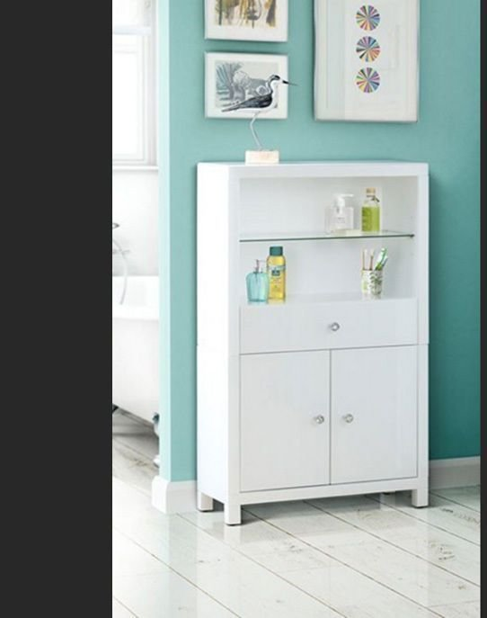 Best White Glass Display Cabinet Bath Room Bedroom Storage With Pictures