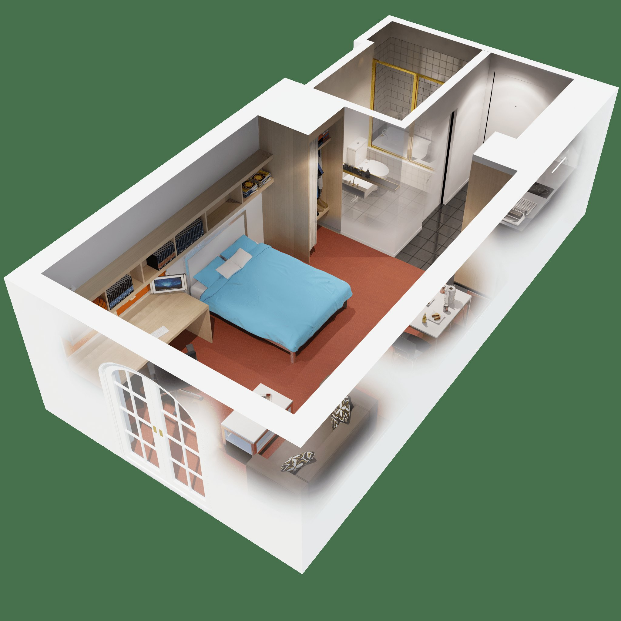 Best Apartments 3D Floor Plan 1 Bedroom Apartment Design Idea Which 1 Bedroom Apartments Is Better With Pictures