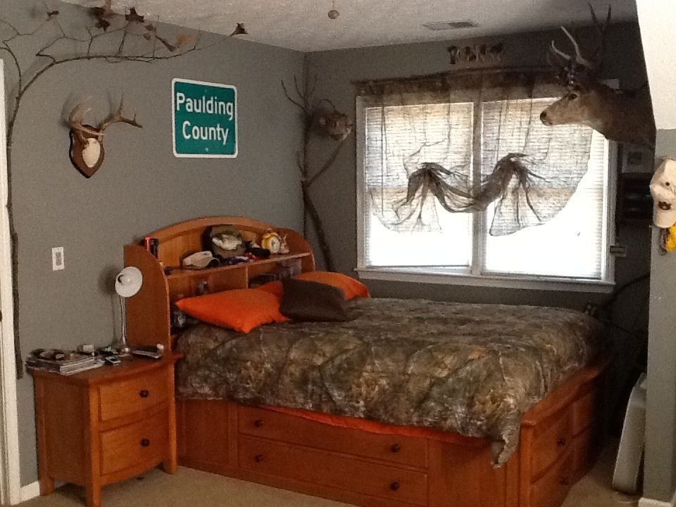 Best My Sons Redneck Hunting Bedroom With Camo Curtains With Pictures