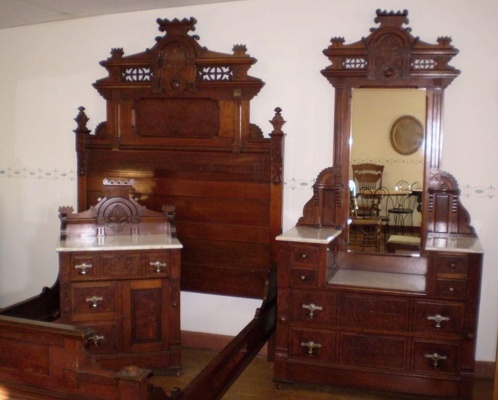 Best Antique Walnut Burled Elm Bedroom Set Marble Top Original With Pictures