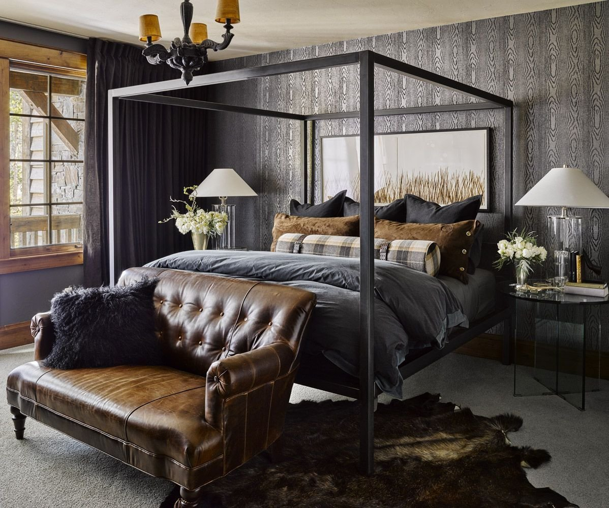 Best Masculine Bedroom With Charcoal And Leather Bedroom In With Pictures