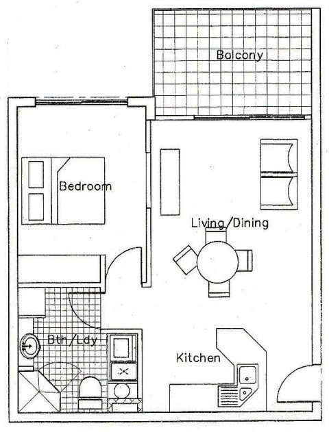 Best Apartments 1 Bedroom Floor Plan Palm Cove Tropic With Pictures Original 1024 x 768