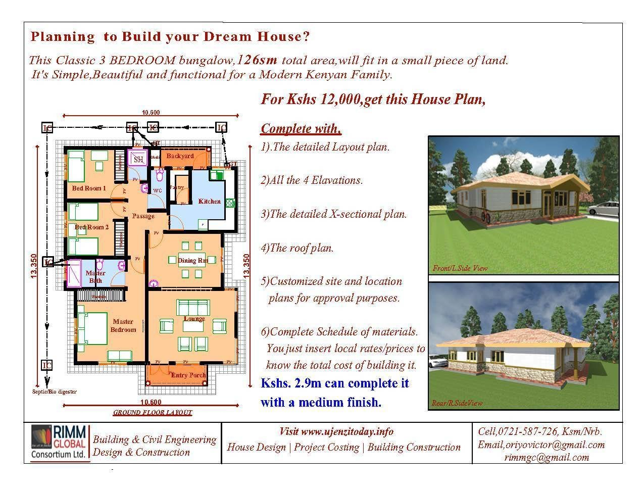 Best Buy A 3 Bedroom Bungalow And Cost Of Building It Ujenzi Today With Pictures
