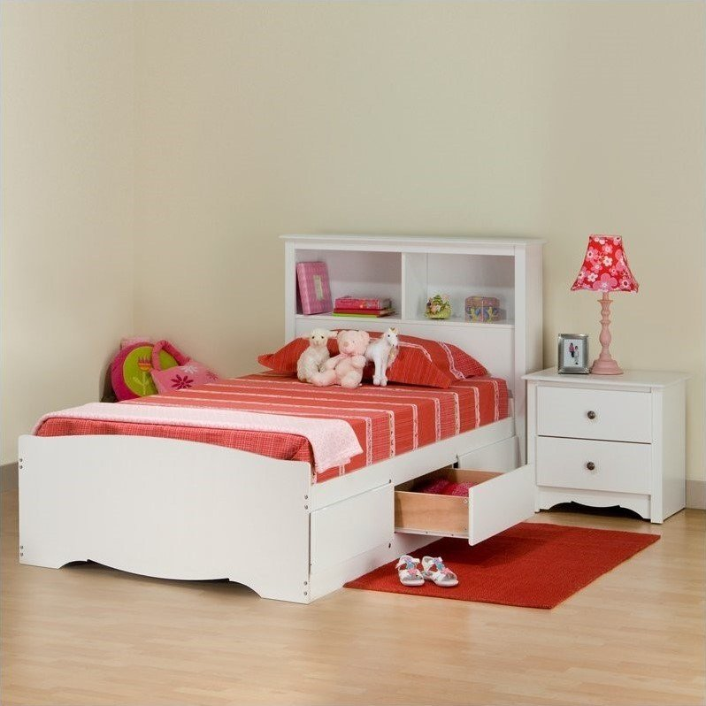 Best White Twin Wood Platform Storage Bed 3 Piece Bedroom Set With Pictures