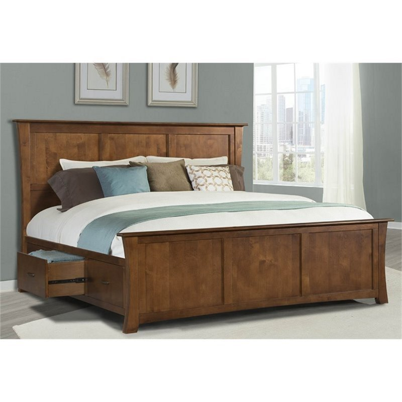Best A America Grant Park King Panel Storage Bed In Pecan With Pictures