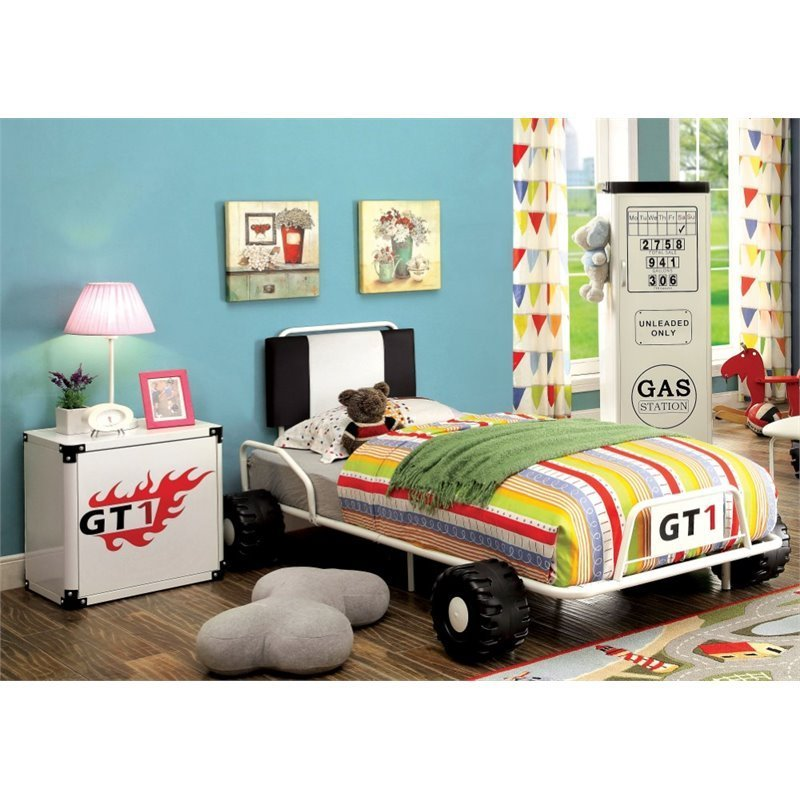 Best Furniture Of America Ramirez Race Car Bedroom Set In White 889435461781 Ebay With Pictures