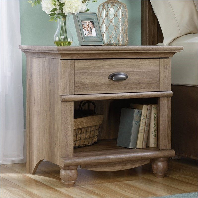 Best 1 Drawer Wood Nightstand In Salt Oak 415004 With Pictures