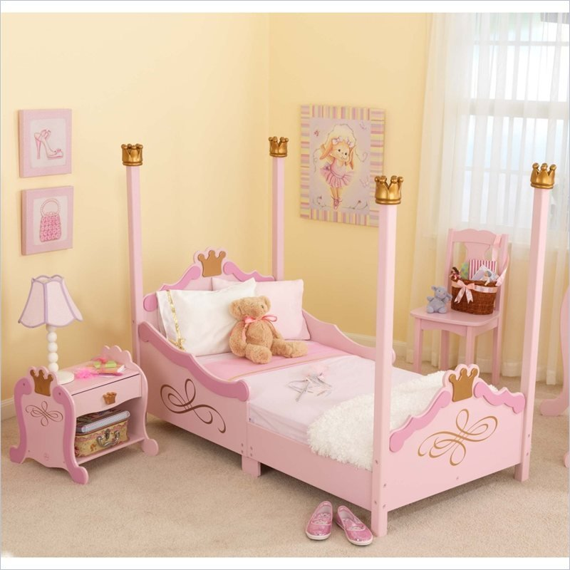Best Kidkraft Princess Girls Pink Wood Toddler Bed 2 Piece With Pictures