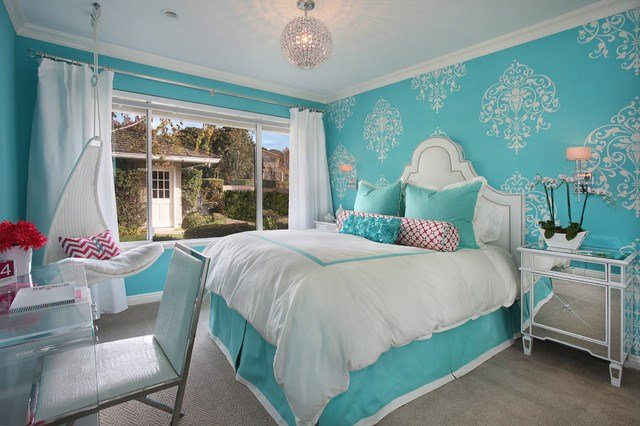 Best Tiffany Blue Girl S Room Transitional Bedroom Orange With Pictures