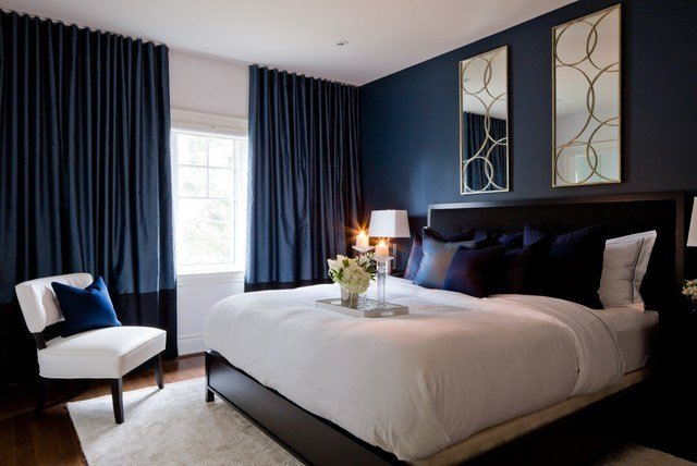 Best Jane Lockhart Bedroom With Dark Navy Walls Transitional With Pictures