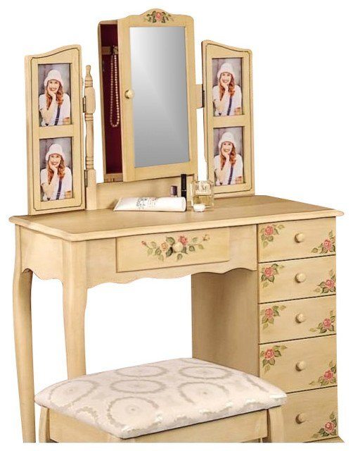 Best Coaster Hand Painted Wood Makeup Vanity Table Set With With Pictures