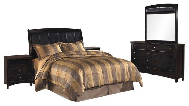 Best Ashley Harmony 5 Piece Headboard Bed Set Brown With Pictures