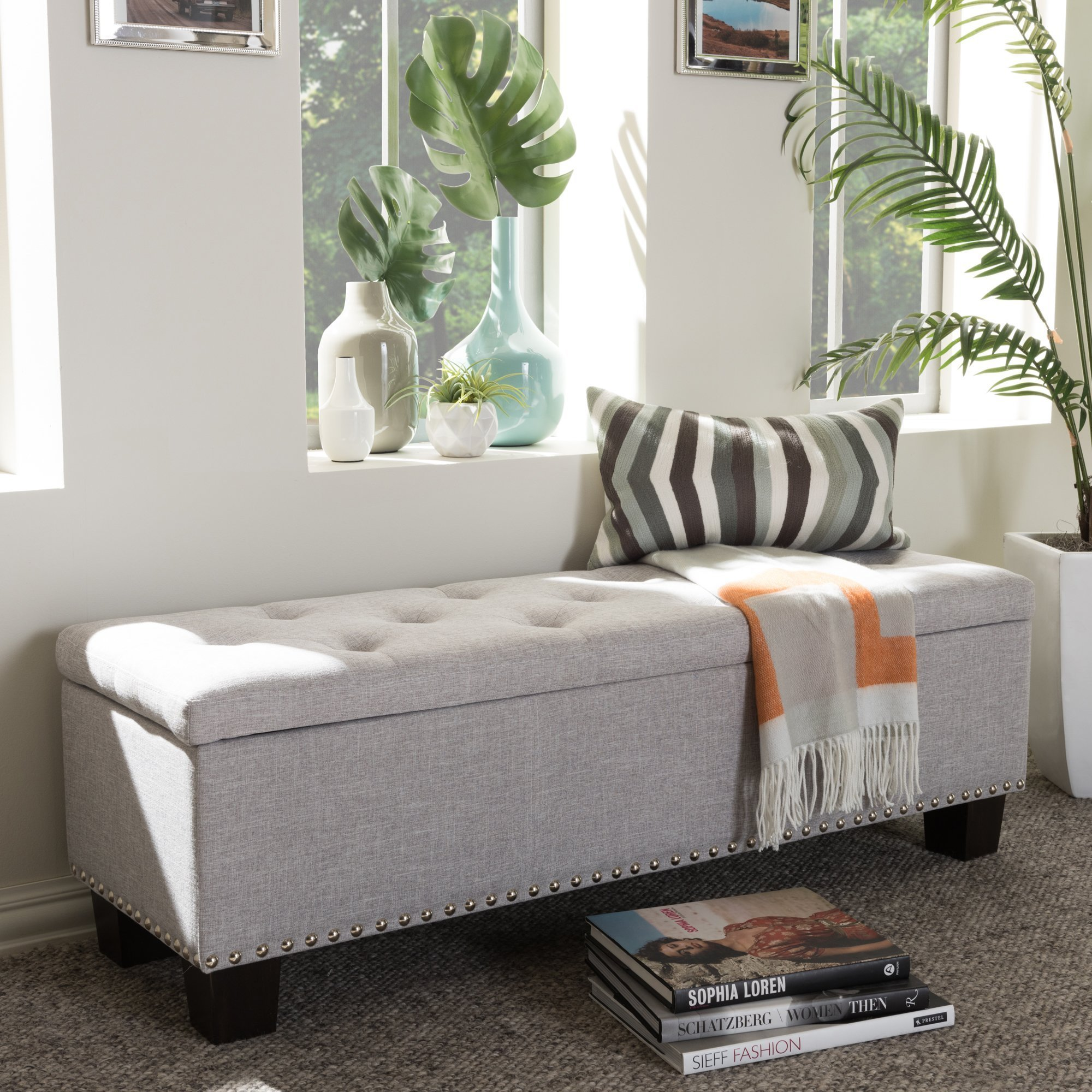 Best Wholesale Interiors Baxton Studio Giulia Upholstered Storage Bedroom Bench Reviews Wayfair With Pictures