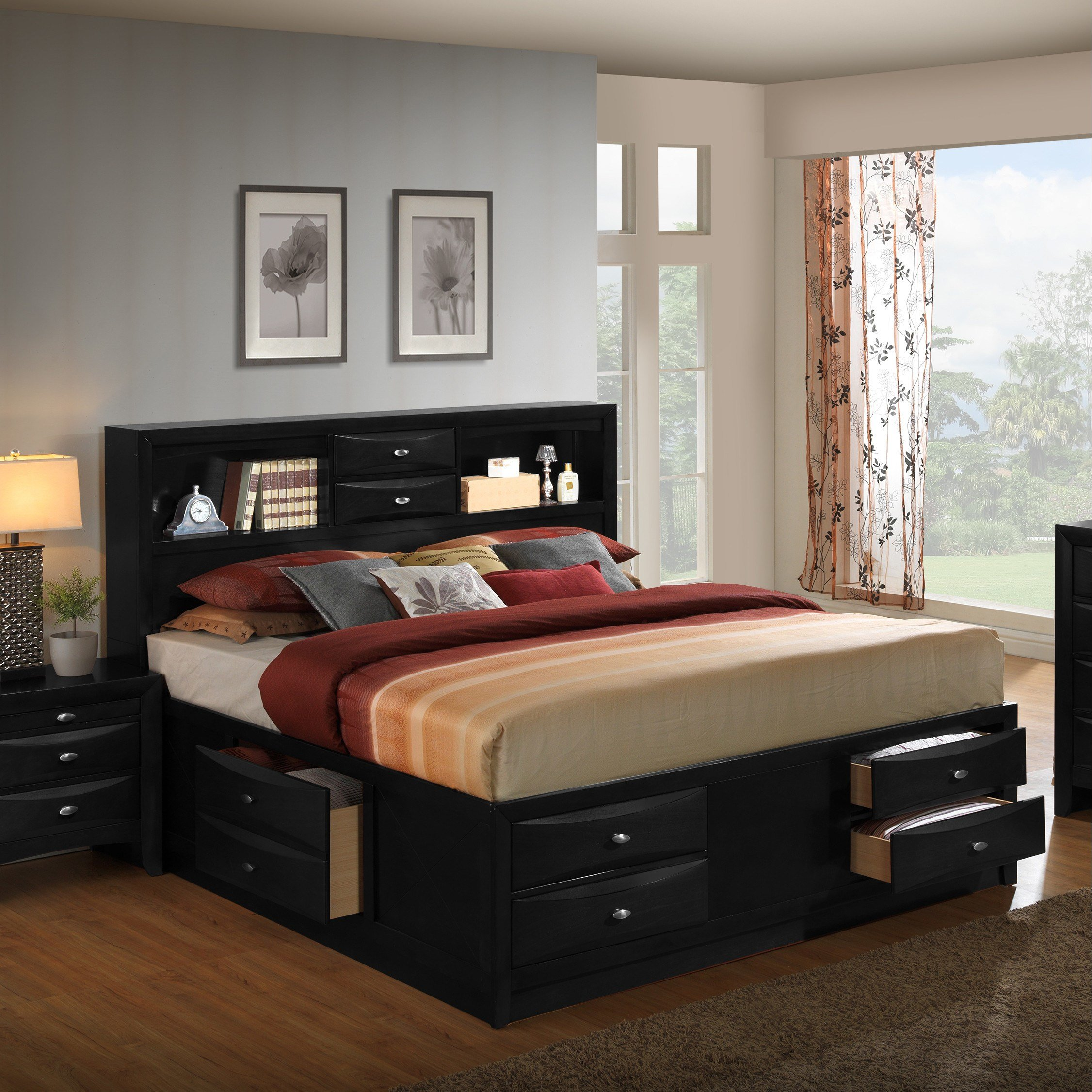 Best Roundhill Furniture Blemerey Platform 6 Piece Bedroom Set With Pictures