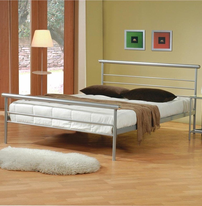 Best Silver Metal Queen Size Bed Steal A Sofa Furniture With Pictures
