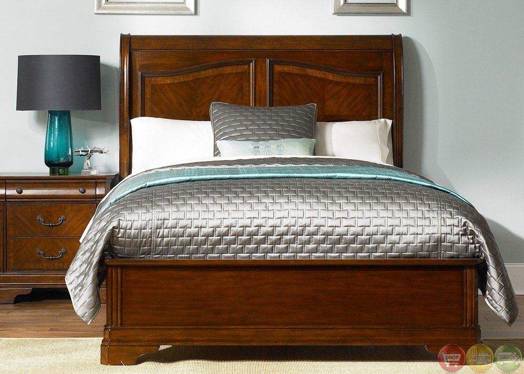 Best Alexandria Traditional Autumn Brown Sleigh Bedroom Set With Pictures