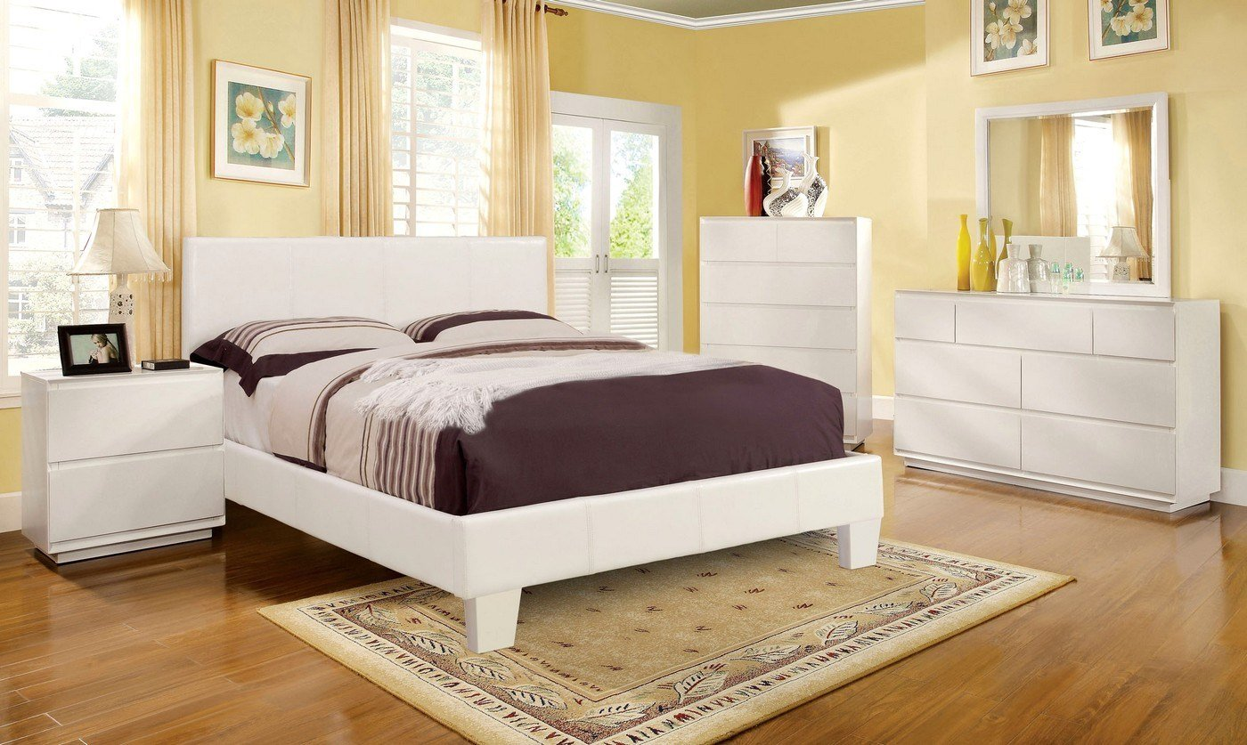 Best Winn Park Contemporary White Platform Bedroom Set With Padded Leatherette Cm7008Wh With Pictures