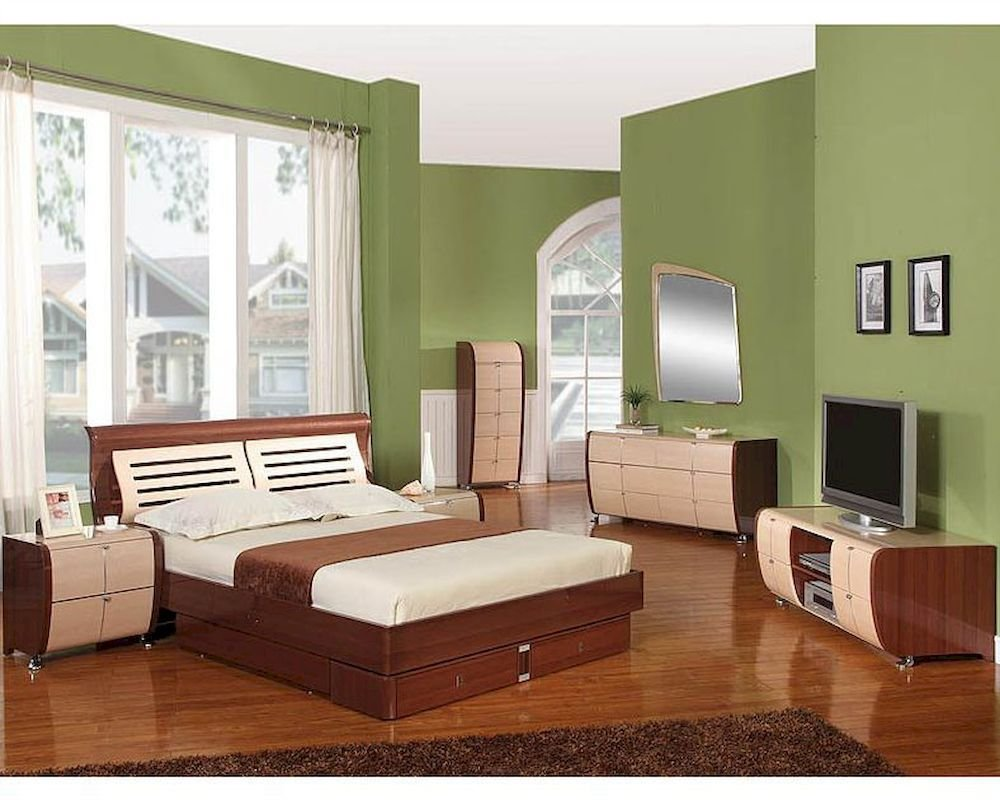 Best Modern Made In Italy Two Tone Storage Bedroom Set 44B4211 With Pictures