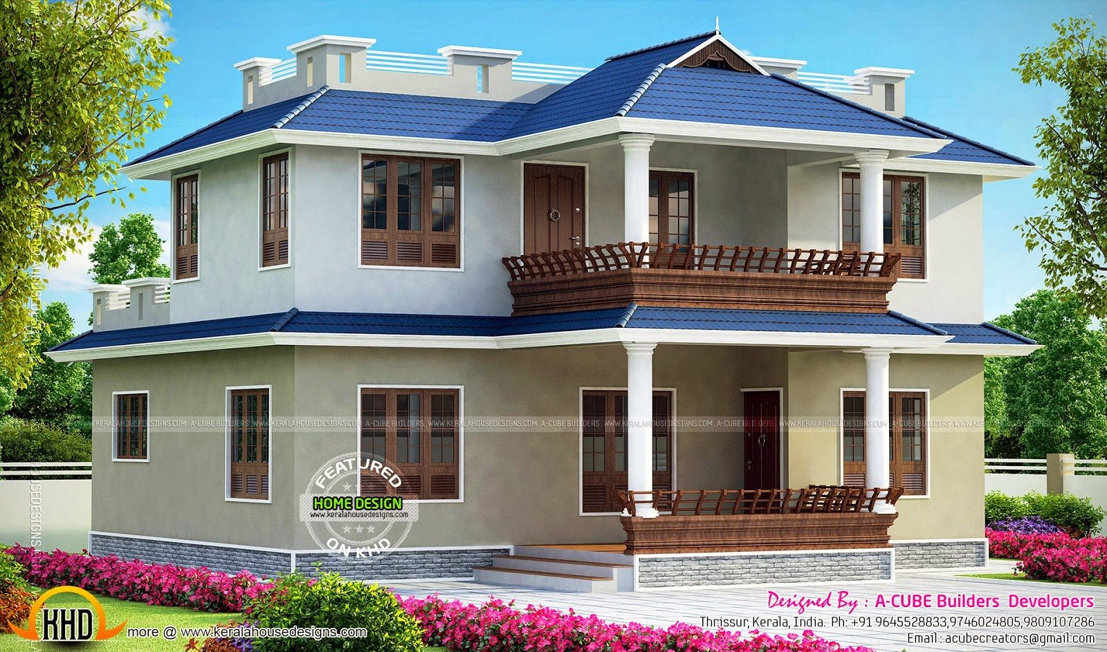 Best 3 Bedroom Double Storied Kerala Home Kerala Home Design With Pictures
