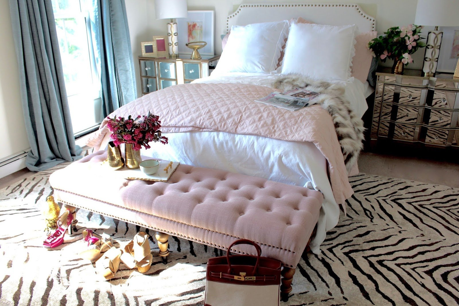 Best Room Reveal Pink And Gold Feminine Bedroom My Guest Room With Pictures