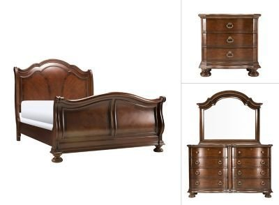 Best Pembrooke 4 Pc King Bedroom Set Cherry Raymour Flanigan With Pictures