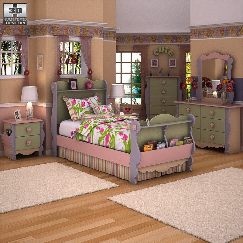 Best Doll House Sleigh Bedroom Set 3D Model Props Scenes With Pictures
