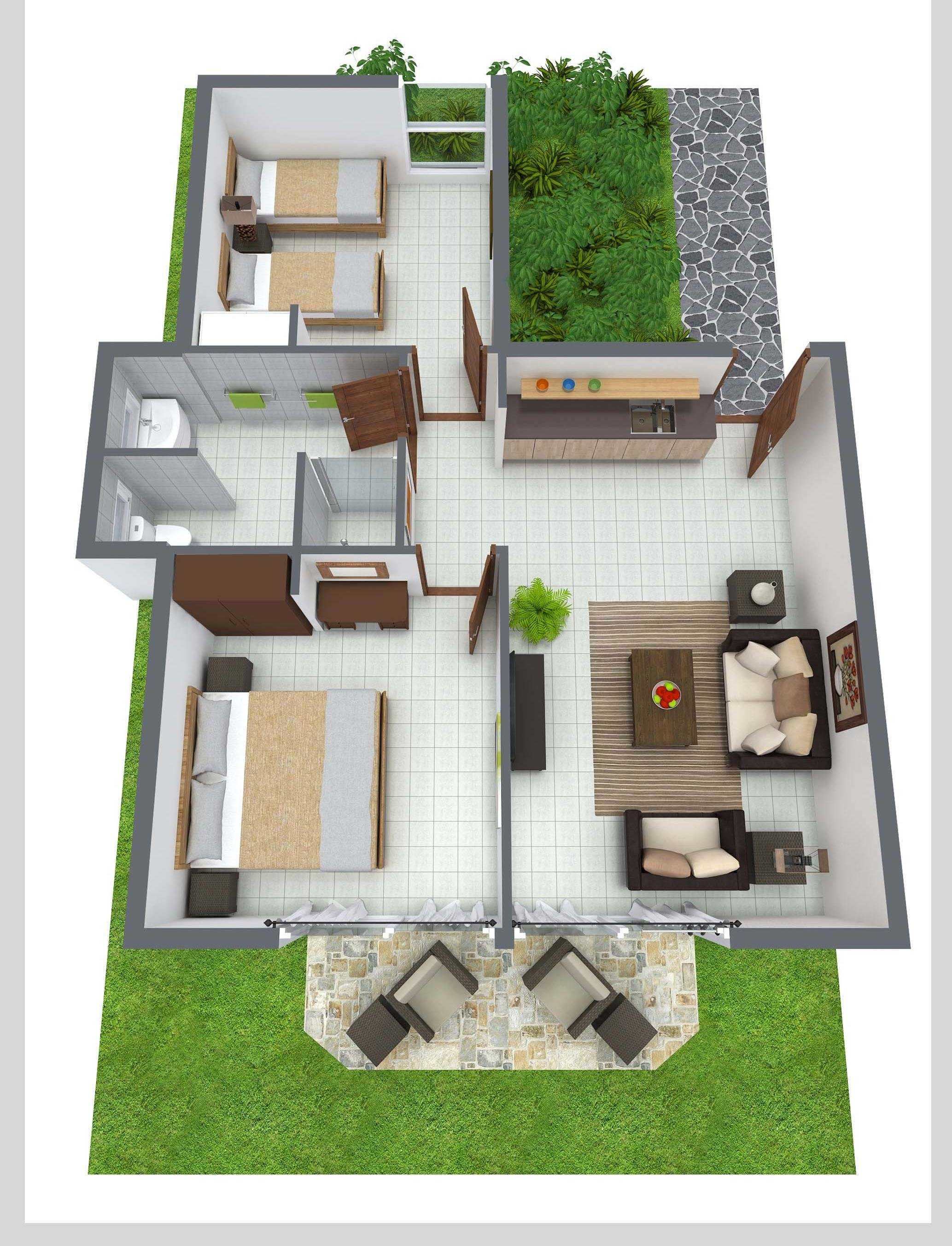 Best 2 Bedroom Single Level House Plans 3D With Pictures